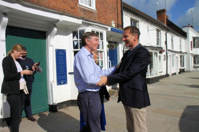 Philip Dunne greeting Jeremy Hunt in Tenbury