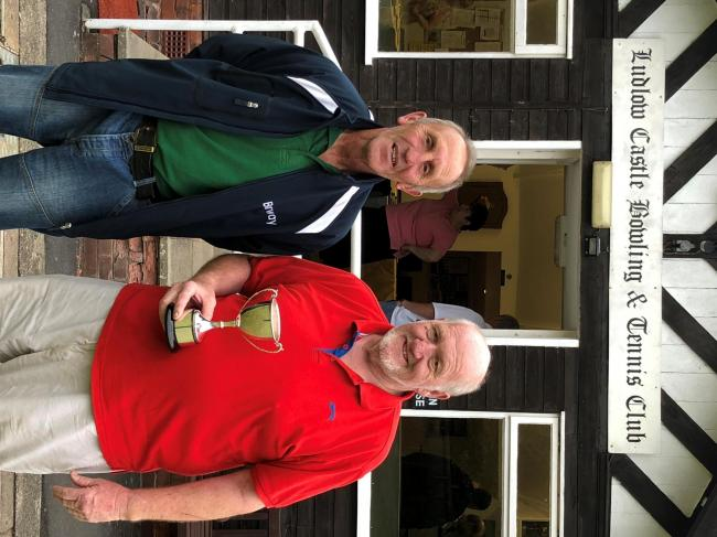 Runner up Len Lewis along with the Flowfit Ludlow and District Bowls League Veterans winner Mal Bowen