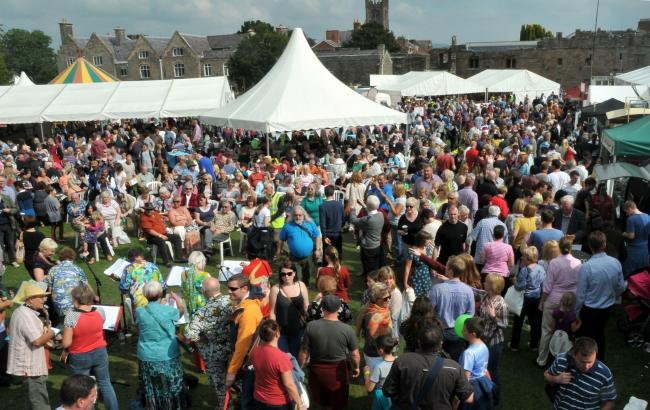 An elevated view showing just some of the thousands of people whoi attended Ludlow Food Festival..