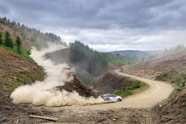Perry Gardener and Keaton Williams in action at Builth Wells. Picture: British Rally Media
