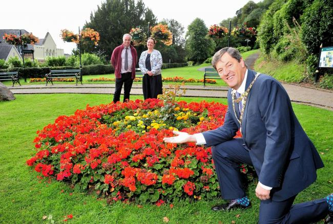 BLOOM: The Mayor of Malvern, Neil Morton, with Operations Director Charles Porter, and volunteer Kim Clarke after Malvern won Gold in the Heart of England In Bloom awards. Picture by Jonathan Barry