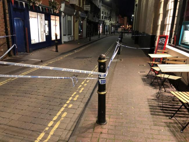 SCENE: Police tape blocked off Nash's Passage, as well as parts of New Street and Charles Street, following the incident
