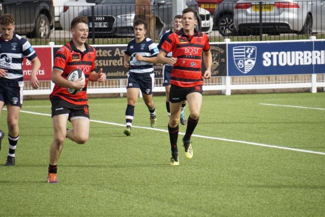 James Mear scoring the first of two tries in the first half for Ludlow