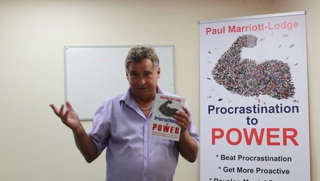 Local author Paul with his new book, Procrastination to Power