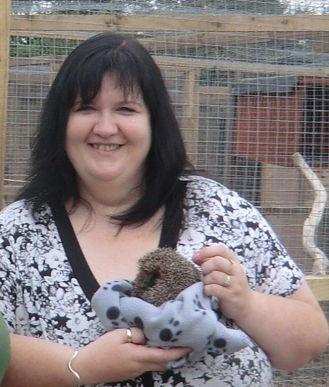 Fay Vass, chief executive of the British Hedgehog Protection Society, with a hedgehog