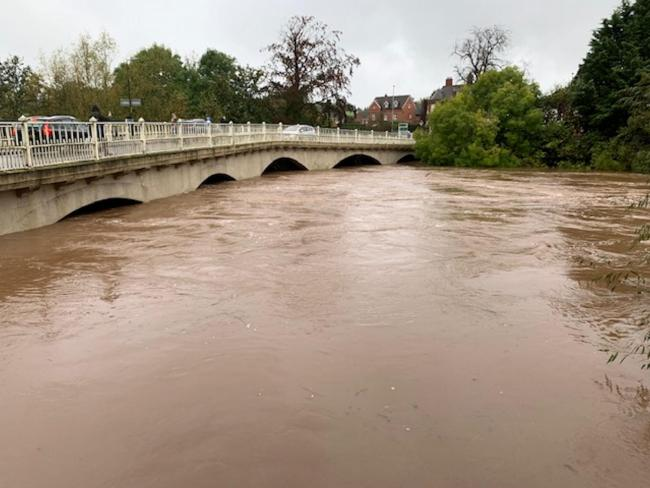 River levels rose rapidly undet the Teme Bridge