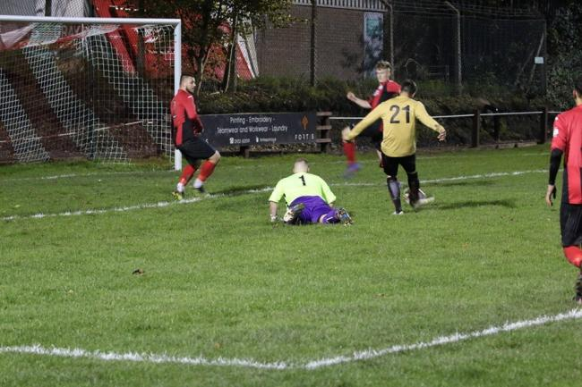 Chris Breakwell scores a second goal for Ludlow Town Colts against Wellington Amateurs