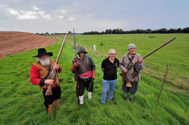Artefacts from the Battle of Worcester, the final battle of the Civil War, have been discovered, during work to dual the A4440 Southern Link Road at Powick....Worcester Re-enactors (From the left) Brian Bullock, Roger Fairman and Andy Tivenan (Right) with