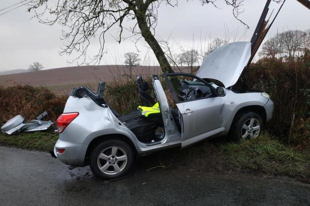 The rood was cut off a car near Bromyard on Friday morning to free the driver who was medically trapped. Picture: Bromyard Fire Station