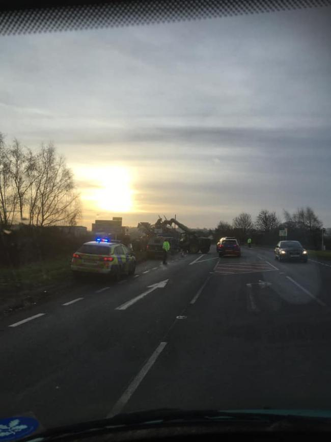 A tractor was blocking the A49 on the Herefordshire-Shropshire border this morning. Picture: Cindy Walker