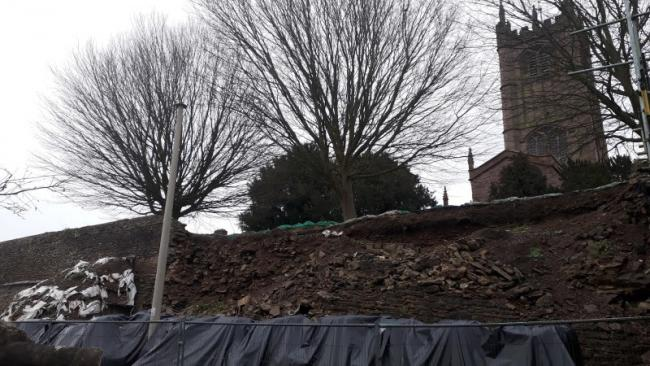 Ludlow Town walls where the collapse happened seven years ago