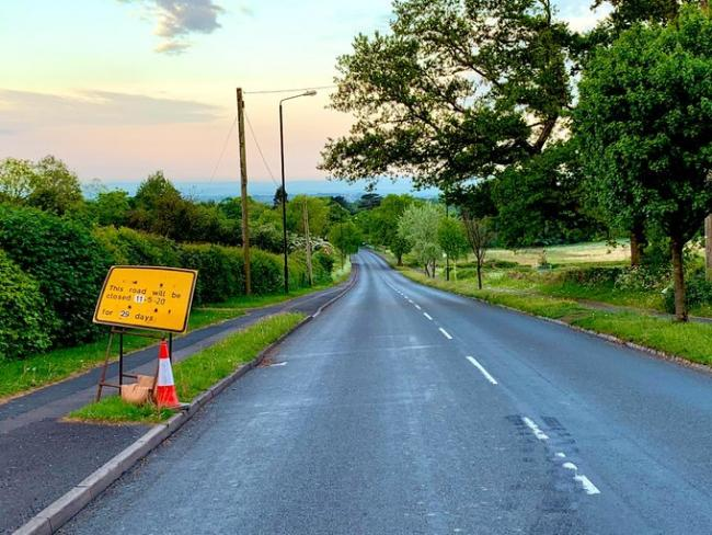 The Old Birmingham Road is to be closed in both directions for four weeks. Picture: Twitter @BromsgroveCops