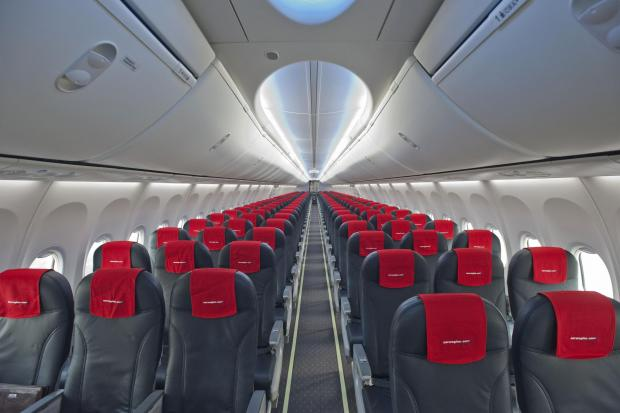 Ludlow Advertiser: The cabin of a Norwegian Boeing 737-800. Picture: Norwegian