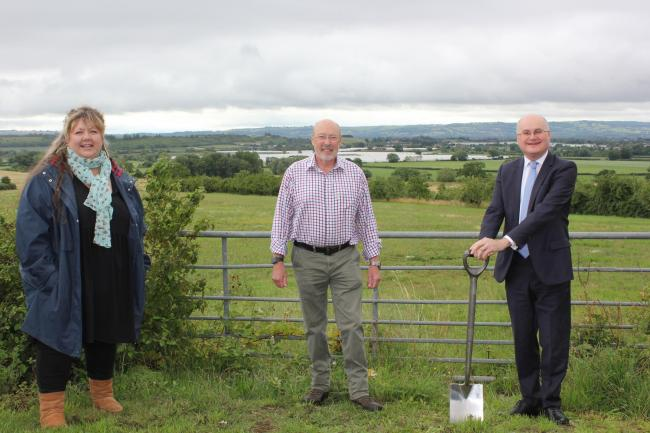 Laura Judson, head of philanthropy for the Woodland Trust, Councillor Tony Miller, cabinet member for environment, and Councillor Simon Geraghty, leader of Worcestershire County Council