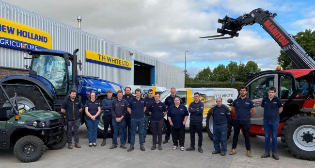 The T H White Agriculture team outside their Hereford depot. L-R: Ben Linton, Karina Mason, Jake Wain, Tom Downes-Hopkins, John Fennel, Marc Williams, Josh Icke, Jim Lewis, Roger Helme, Jessica Edwards, Phil Speakman, John Manna, Will Farr, Dan Lamont.
