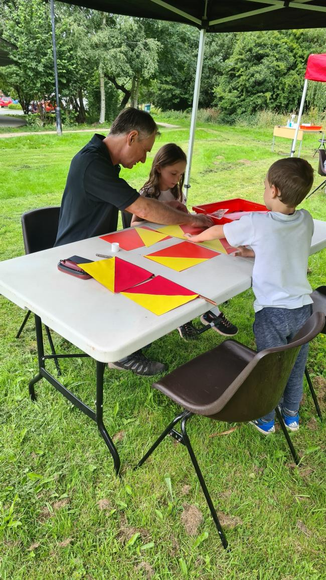 Flag making was one of the summer holiday activities