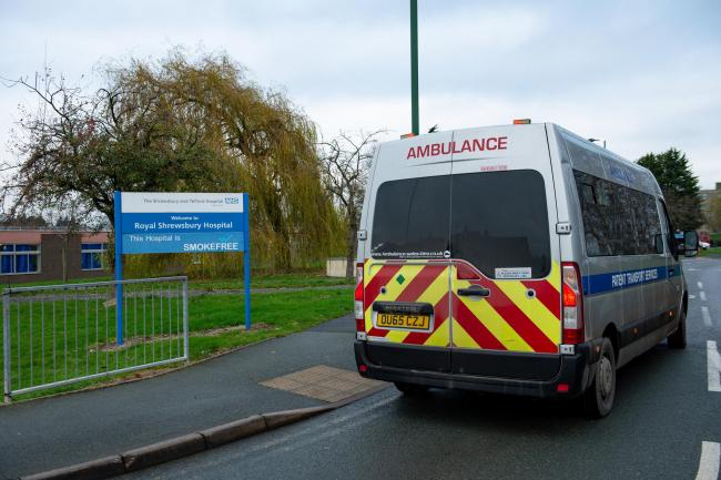 A patient transport ambulance outside the Royal Shrewsbury Hospital. Photo credit: Jacob King/PA Wire.