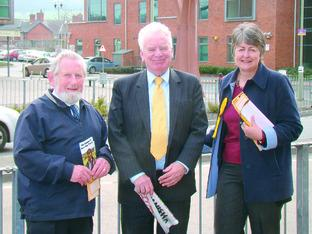 Liberal Democrat Heather Kidd with Lord Roberts, centre, and Neville Stephens in Craven Arms.