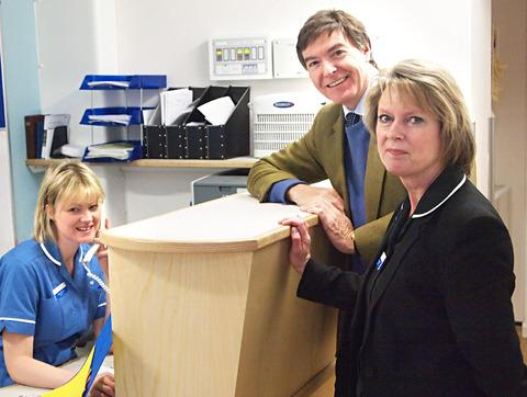 Ludlow Philip Dunne MP during a recent visit to the hospital with staff nurse Claire Peacock, left, and matron Ginny Snape.