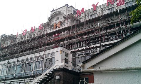 Scaffolding has gone up outside the Longmynd Hotel.
