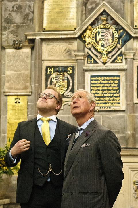 Shaun Ward and Prince Charles admire the interior of St Laurence's Church