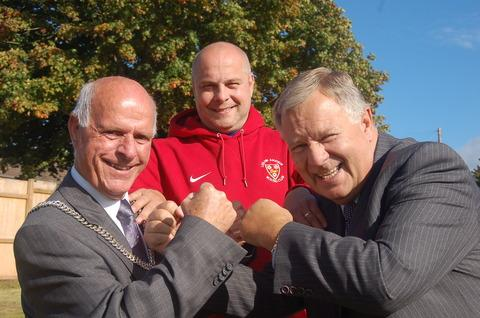 Celebrating the start of work on the new club are, from left, Ludlow mayor Tony Pound, PC Tony Sewell of Ludlow Boxing Club and John Stringer, chairman of Total Response, the construction arm of the Shropshire Housing Association.