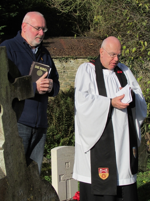 Pastor Hans-Willi Buttner, a preacher from the Paul-Gerhardt-Kirche Church, Nuremburg, Germany, gave a reading in German at the remembrance ceremony held at St Leonard's Churchyard in Ludlow. Pictured with Colin Williams.