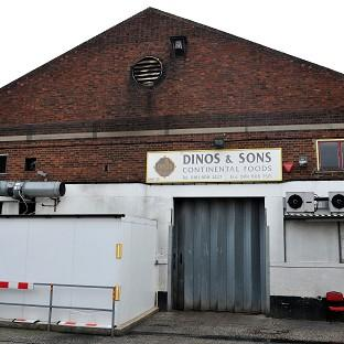 Dinos and Sons food factory premises in Tottenham, north London, which is under investigation for its possible involvement in the Horsemeat scandal