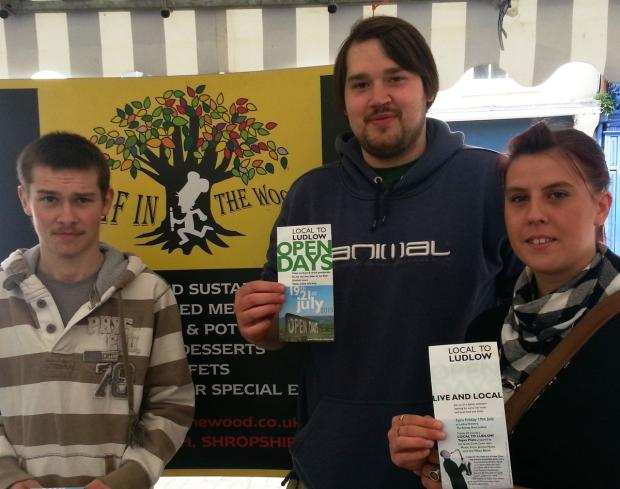 Getting ready for the Local to Ludlow Open Days are (from left) Kieran Merritt, Ben Foulger and Sarah Mansell.