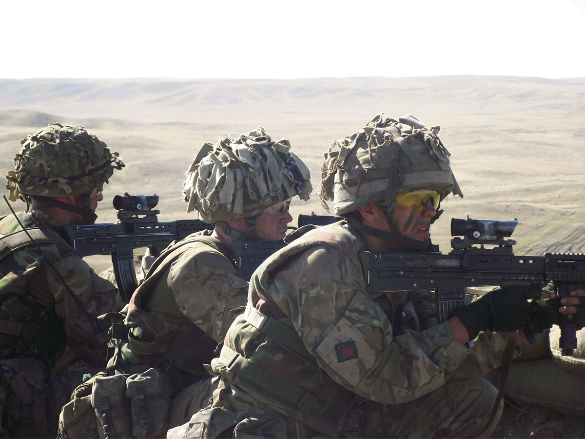 Soldiers from the Royal Welsh Regiment on exercise.