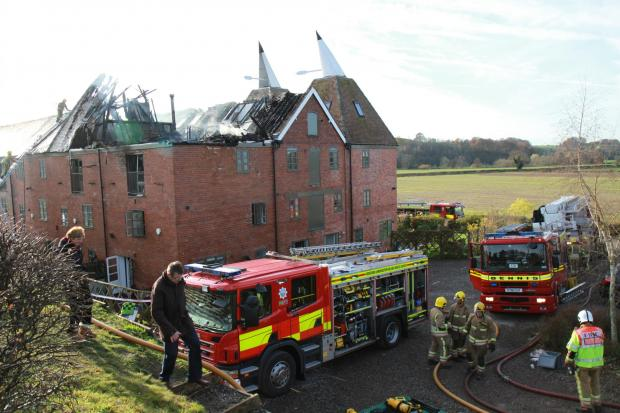 Tenbury crews at a fire in Woodston last December.