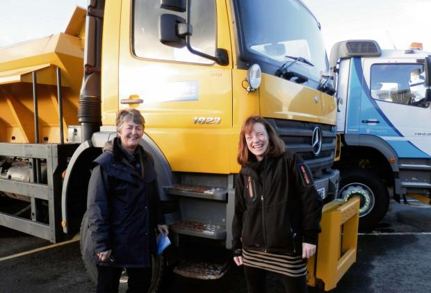 Charlotte Barnes (right) and Heather Kidd have been out and about with workers in the Shropshire Council gritting wagons.