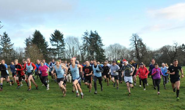 Croft Ambrey Running Club members and Lucton School representatives battle it out for the annual Pete Tyler Trophy.