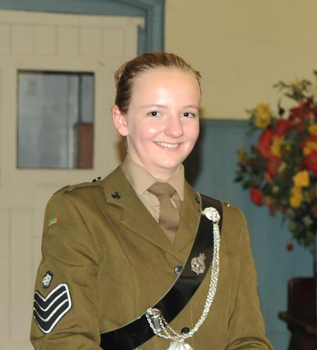 Ludlow Advertiser: Colour Sergeant Liberty Perry, a year 12 pupil at Lucton School.