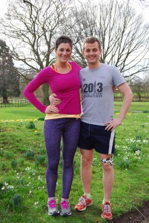 Amy and Gareth gearing up for the London Marathon.