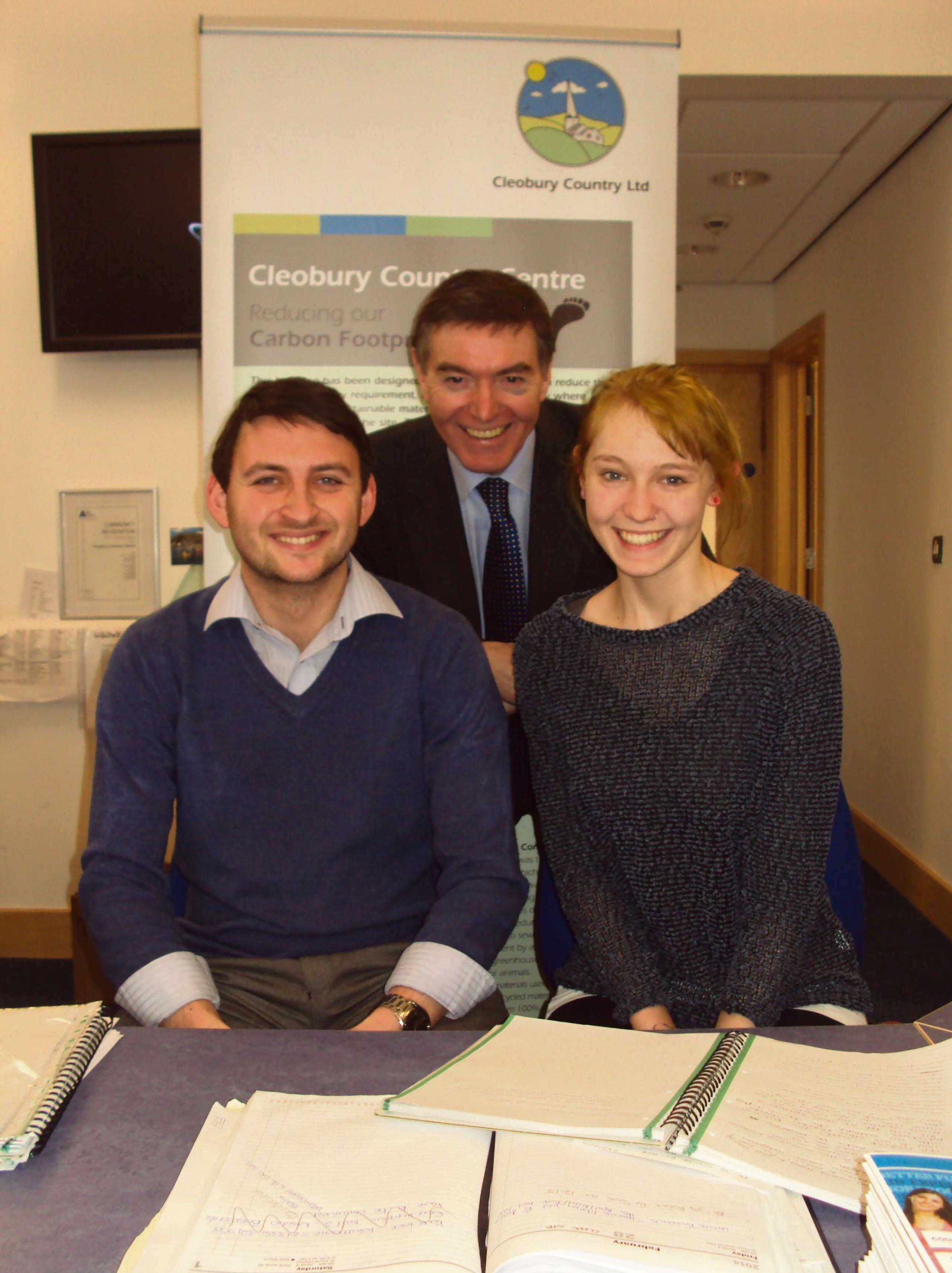 Philip Dunne MP with apprentice Vicki Harris and Gavin Owen from County Training.