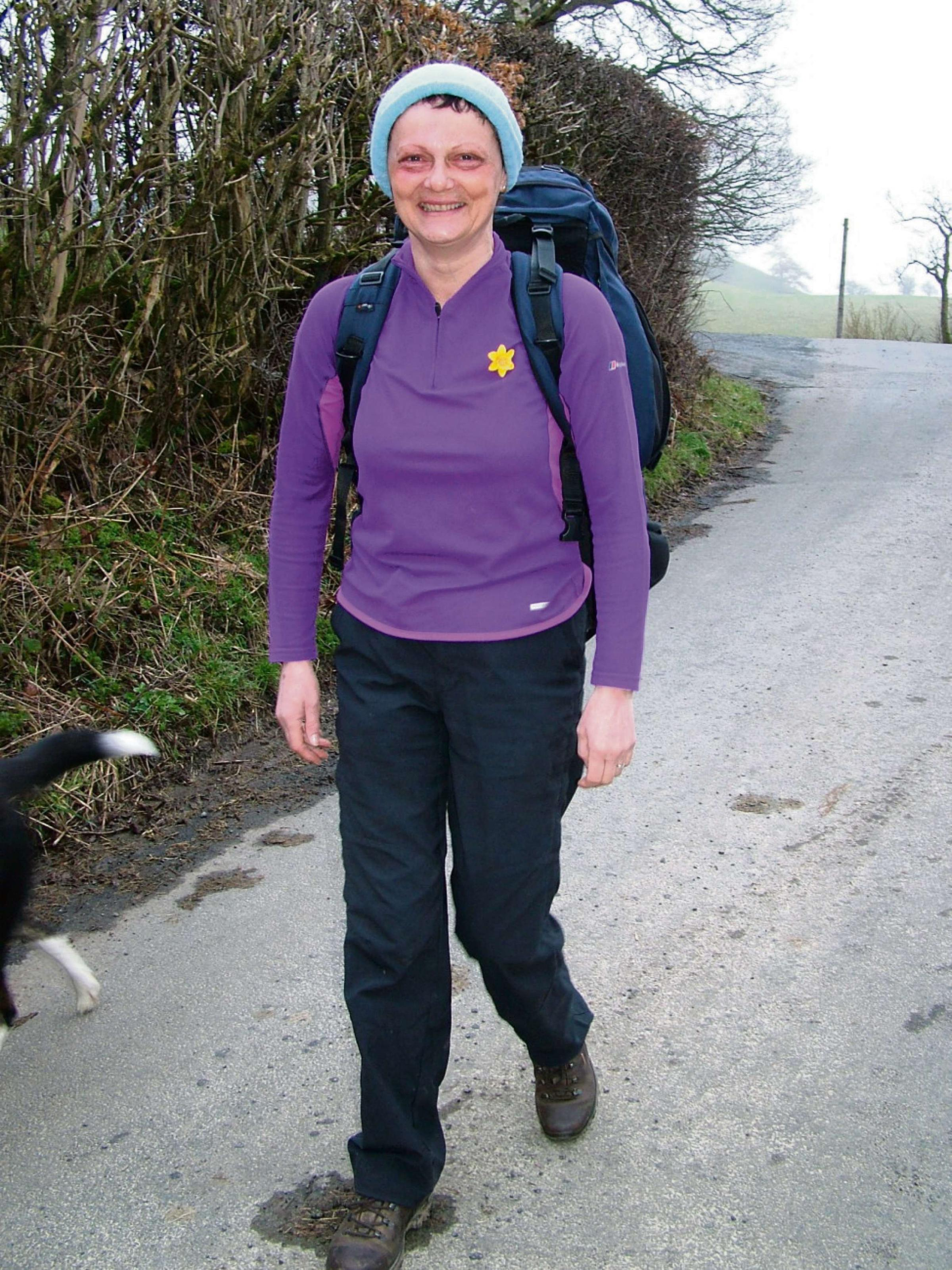 Rebecca Morris at the start of her long fundraising walk.