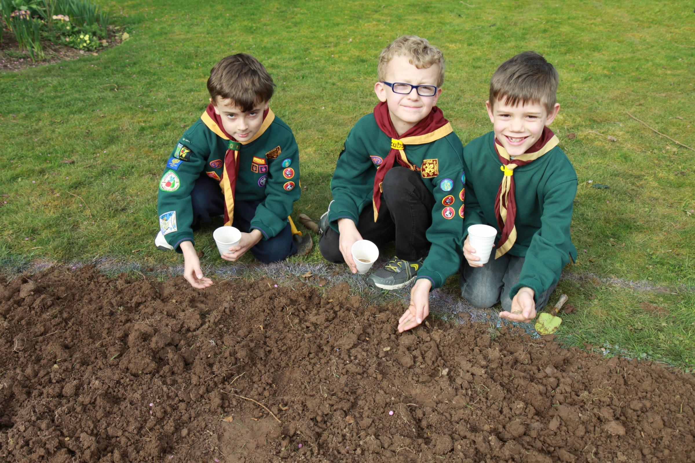 Tenbury Cubs Dylan and Morgan Carver with Alex Price
