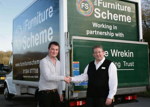 Left to right are James Cooper, general manager of The Furniture Scheme, and David Garratt, Ludlow based development manager, for The Wrekin Housing Trust.