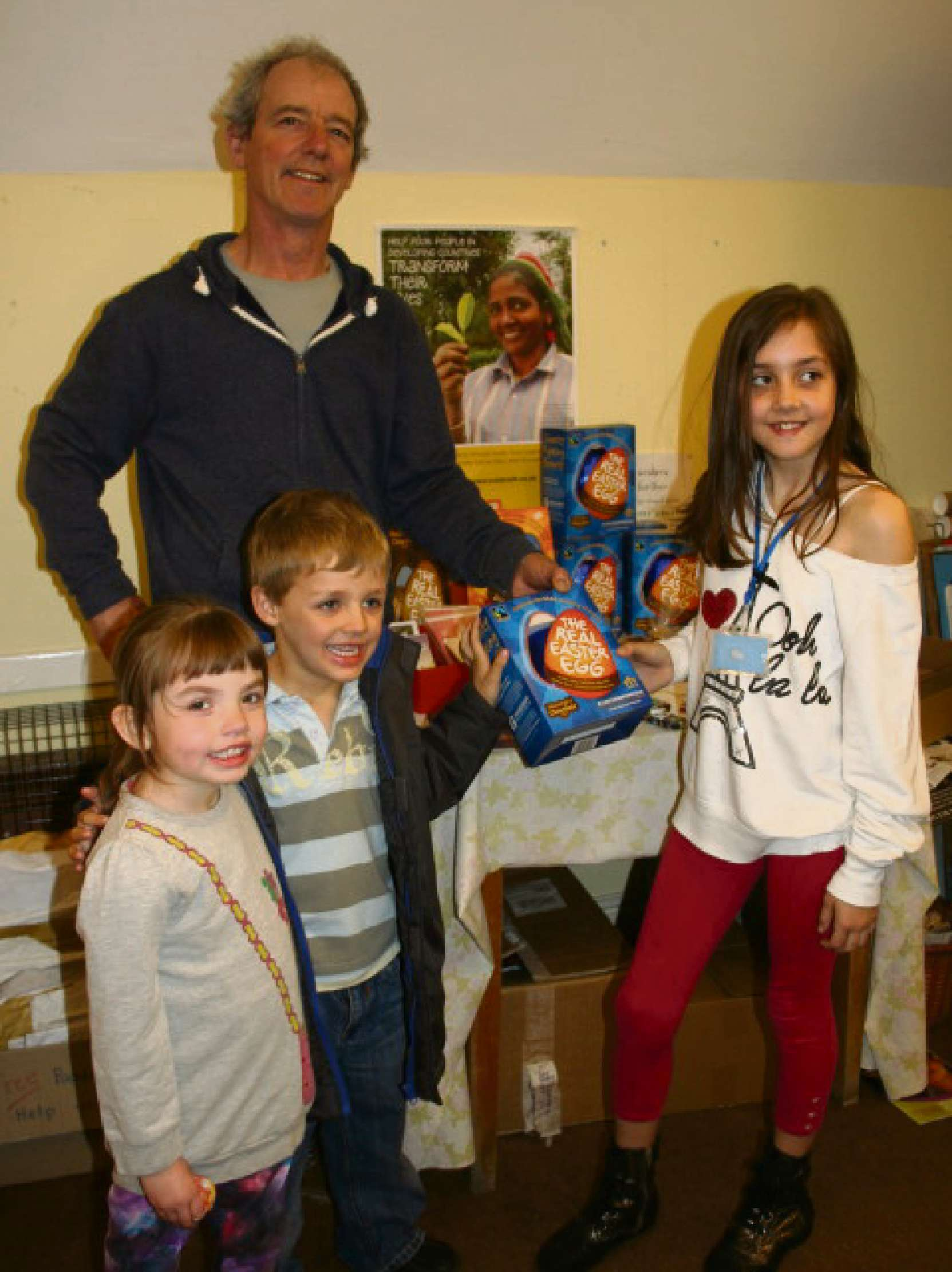 Michael Knight is seen showing a 'Real Easter Egg' to Danielle Jones (aged10), Kai Jones (aged 5) and Leah Davies (aged 5).
