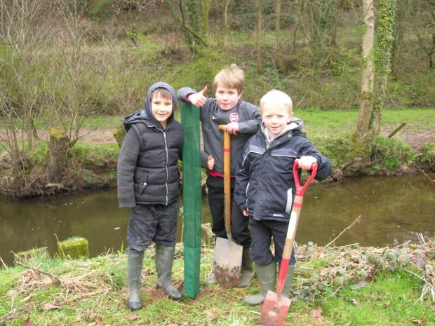 Clun Primary School tree planting at Clun Castle