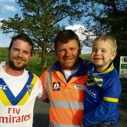 Lee Briers (left) pictured with Shaun Ford and his son Thomas.