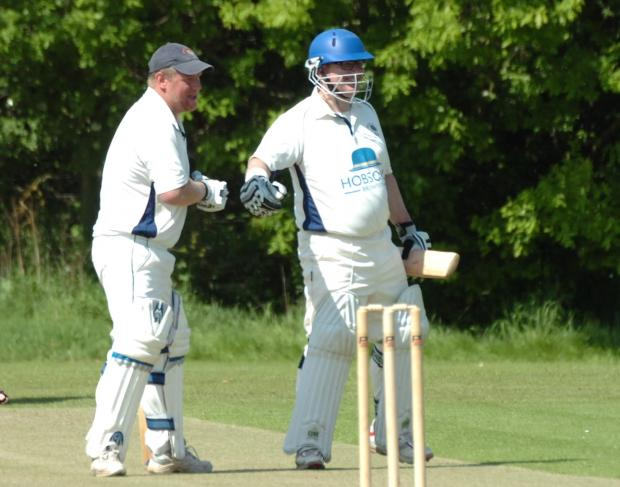 Ludlow Advertiser: Matthew James (left) and Mark Evans celebrate put on a fine opening stand for Knighton-on-Teme (6317739).Picture by a James Maggs.