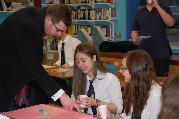 Teacher Anthony Doran with students Alice Redknap and Laura Sheldon.