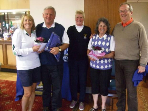 Graham and Elizabeth Newton, Michael Burrows and Jill Bullock with Ludlow Golf Club's women's captain Jacki Corbett.