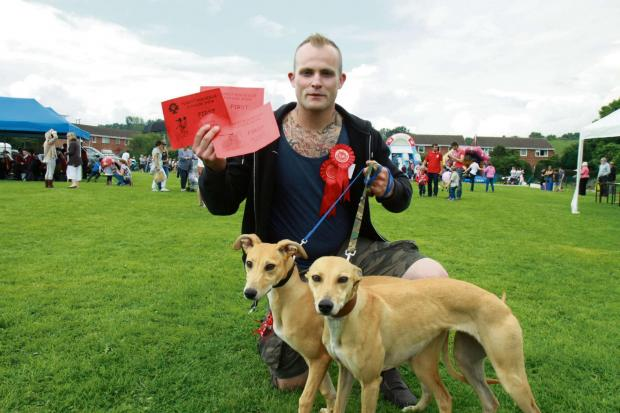 Ludlow Advertiser: Tom Morris with his dogs won three first prizes between them, including the Judges Favourite and Prettiest Bitch.