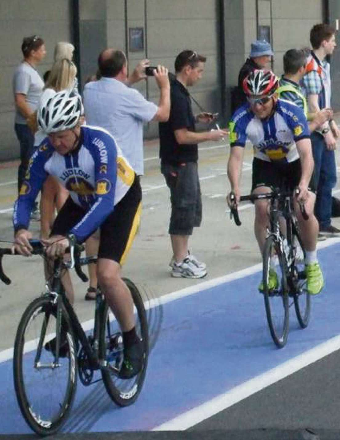 Ludlow Cycling Club in the pit lane at Silverstone.