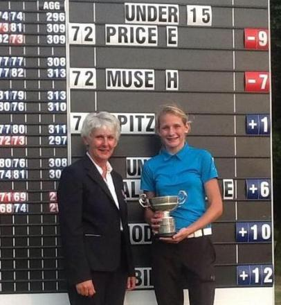 Emily Price with her trophy.