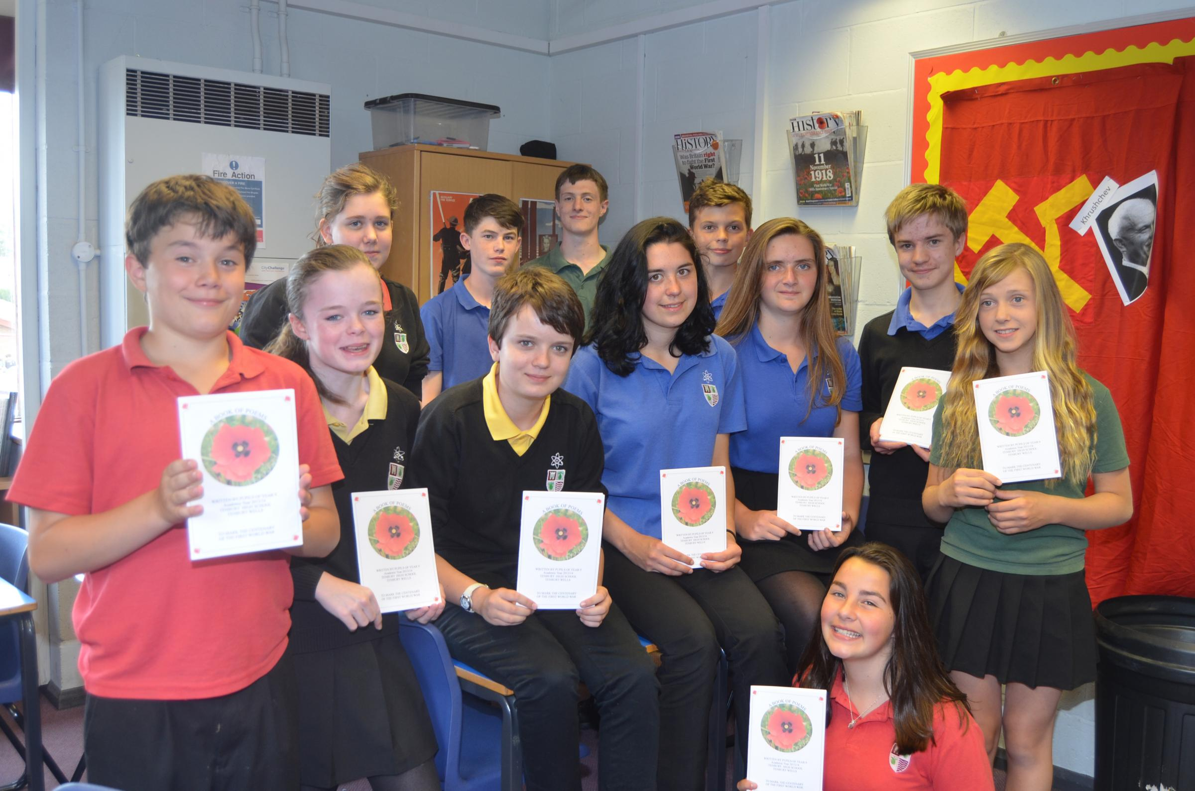Modern day war poets at Tenbury High School are: (back from left) Gemma Lambert, Luke Staples, Will Powis, and Kit Garbutt; (middle) Piers Van Straaten,  Beth Edwards, Grace Everall, Eve Watson, Kitty Houchin, Ja