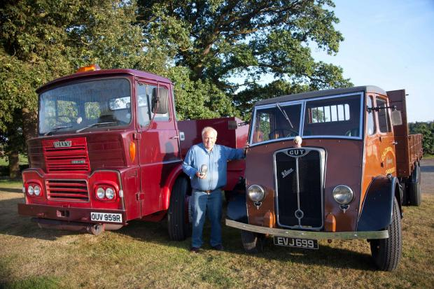 David Cookson with two Guy lorries he purchased 25 years ago - a 1974 Big J4T Guy and a 1947 Guy Vixen.